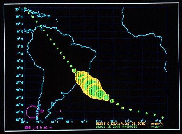 accroissement des valeurs de H (équivalent de dose ambiante) correspondant à l'anomalie de l'atlantique sud (SAA)
